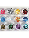12-Color Plastic Twinkle Nail Art decoratieve Grote Wafers