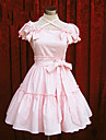 Une Piece/Robes Doux Lolita Cosplay Vetrements Lolita Rose Bleu Couleur Pleine Manches courtes Moyen Robe Pour Coton