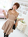 Women\'s Going out Cute Skater Dress,Solid Peter Pan Collar Above Knee Long Sleeve Beige All Seasons