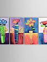 HANDMÅLAD Blommig/Botanisk Fyra paneler Kanvas Hang målad oljemålning For Hem-dekoration