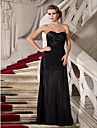 Formal Evening / Military Ball Dress - Black Plus Sizes / Petite Sheath/Column Sweetheart / Strapless Floor-length Chiffon / Stretch Satin