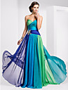 TS Couture Prom / Military Ball / Formal Evening Dress - Blue/Green Ombre Plus Sizes / Petite A-line Strapless / Sweetheart Floor-length Chiffon