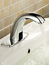 Contemporain Set de centre Tactile/non tactile with  Valve en ceramique Mains libres un trou for  Chrome , Robinet lavabo