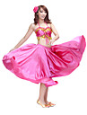 Belly Dance Outfits Women\'s Training Satin Coins Fuchsia / Green / Orange / Purple / Red / Royal Blue / White Belly Dance Sleeveless