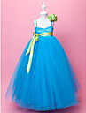 A-line / Ball Gown Floor-length Flower Girl Dress - Satin / Tulle Sleeveless Spaghetti Straps with Draping / Flower(s) / Sash / Ribbon