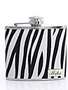 Gift Groomsman /Bridesmaid Personalized Zebra-stripe 5-oz Flask