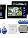 """Nouvelle couleur 7 """"Hands Free Video telephone de porte avec 2 moniteurs (RFID telecommandes, Verrouillage Controle electronique)"""