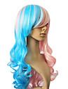 Capless synthetique cheveux couleurs melangees longue perruque de cheveux boucles