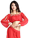 Belly Dance Tops Women\'s Training Chiffon Coins 1 Piece As Picture Belly Dance / Performance Long Sleeve Top
