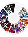 1200PCS fyrkantig Rhinestones Nail Art Dekorationer (2.0mm, 12 färger)