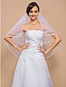 Voal de Nuntă Un nivel Voaluri Lungi Până la Cot Margine panglică 55.12 în (140cm) Tul AlbA-line, Rochie de Bal, Prințesă, Foaie/