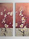 mao oleo pintado pintura floral flor de ameixa conjunto de 2 com quadro esticado 1307-fl0190