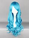 Perruques de lolita Lolita Classique/Traditionnelle Lolita Long Boucle Bleu Perruque Lolita  70 CM Perruques de Cosplay Couleur Pleine