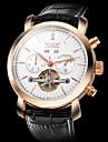 JARAGAR Men's Auto-Mechanical Watch Tourbillon Calendar Black Leather Band Cool Watch Unique Watch