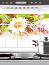 75x45cm Wild Chrysanthemum Pattern Oljebeständig Vattentät Kitchen Wall Sticker