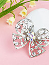 Women\'s  Butterfly Hollow Silver Plated Rhinestone Brooch