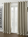 (Two Panels) Warm Ivory Solid Blackout Curtain