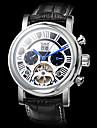 JARAGAR Men's Auto-Mechanical Watch Tourbillon Black Roman Number Leather Band Wrist Watch Cool Watch Unique Watch