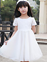 A-line / Princess Knee-length Flower Girl Dress - Tulle Short Sleeve Scoop with Beading / Lace