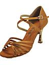 Satin Femeile cu design elegant de sus cu aur cu toc Pantofi de dans latino