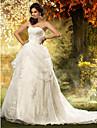 LAN TING BRIDE Linea-A Da principessa Vestito da sposa - Classico Elegante e di lusso Ispirazione Vintage Strascico da cappella A cuore