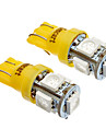 T10 5x5050SMD LED Lumiere laterale 194 168 W5W orange / jaune Lumiere de coin de queue (12V)