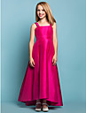 Asymmetrical Taffeta Junior Bridesmaid Dress - Fuchsia A-line Straps / Square