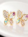 Cercei Stud Perle Ștras Aliaj Animal Shape Fluture Auriu Bijuterii Pentru Petrecere Zilnic