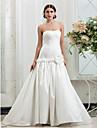 Fit & Flare Plus Sizes Wedding Dress - Ivory Sweep/Brush Train Strapless Taffeta
