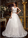 A-line/Princess Plus Sizes Wedding Dress - Ivory Court Train Jewel Tulle