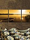 Sträckta kanvas Landskap Båt på skymningen Set av 3