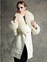 Lange mouwen sjaal Faux Fur En Wol Party / Casual Coat