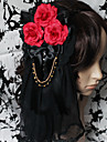 Handgjorda Bloody Rose Black Lace Gothic Lolita Headpiece