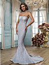 Lan Ting Trumpet/Mermaid Wedding Dress - Silver (color may vary by monitor) Sweep/Brush Train Strapless Tulle/Sequined