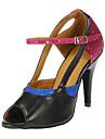 Customizable Women\'s Dance Shoes Latin/Salsa Leatherette/Sparkling Glitter Customized Heel Multi-color