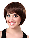 Capless Long Light Brown Wavy 100% Human Hair Wigs Full Bang