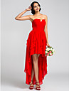 Lanting Bride® Asymmetrical Chiffon Bridesmaid Dress A-line StraplessApple / Hourglass / Inverted Triangle / Pear / Rectangle / Plus Size