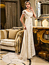 Lanting Bride Sheath/Column Petite / Plus Sizes Wedding Dress-Court Train Scalloped-Edge Lace / Satin