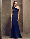 Floor-length Georgette Bridesmaid Dress Sheath / Column One Shoulder Plus Size / Petite with Flower(s) / Side Draping