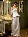 LAN TING BRIDE Sheath / Column Wedding Dress Simply Sublime Floor-length Strapless Satin with Draped Split