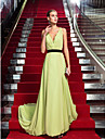 TS Couture Formal Evening Dress - Sage Plus Sizes / Petite Sheath/Column V-neck Sweep/Brush Train Chiffon
