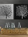 Stampa trasferimenti su tela di arte floreale Black White Tree Set di 2