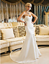 Lan Ting Trumpet/Mermaid Wedding Dress - Ivory Court Train Sweetheart Satin