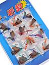 12 pcs Mouches / Kits de leurre / leurres de peche Mouches / Kits de leurre Couleurs assorties g/<1/18 Once mm pouce,Metal Peche au leurre