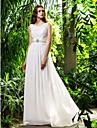 Vestido de Noiva - Marfim Justo Drapeado Cauda Escova Chifon Tamanhos Grandes