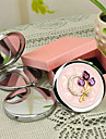Personlig gåva Blom Style Pink Chrome Compact Mirror med Rhinestone