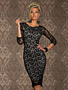 Women\'s Lace Red/Black Dress , Bodycon/Lace/Sexy Round Neck ½ Length Sleeve Lace