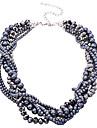 Femme Collier court /Ras-du-cou Collier de perles Cristal Perle Alliage Noir Bijoux Pour Soiree Quotidien