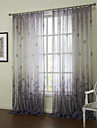 (Two Panels)Elegant Country Gradient Liscio Floral Sheer Curtain