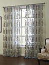 Modern Two Panels Floral  Botanical Blue Bedroom Sheer Curtains Shades